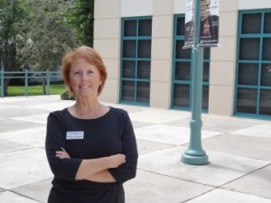 Maureen Christensen in front of The von Liebig Art Center
