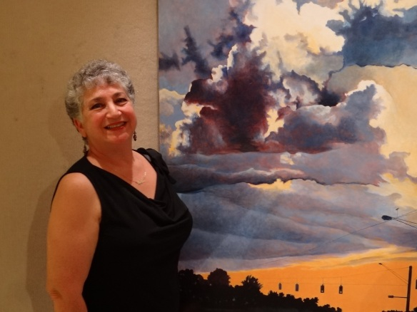 Fort Myers Artist Celeste Borah wins Best of Show for her large scale acrylic on canvas painting, Lee Road Sky.