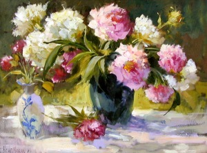 MORAN Peonies in a Black Vase