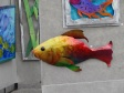 Brightly colored sculpture by Florida Artist Deborah Marucci - fish