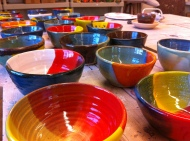 completely glazed bowls for the Empty Bowls Naples fundraiser to benefit Harry Chapin Food Bank.