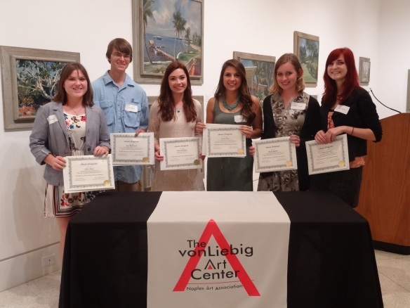 Alexis Simko, Tyler MacDonald, Ashley McGowan, Jessica Perez, Emilie Hofferber, Ashley Jannasch at the 2013 Jade N. Riedel Scholarship ceremony on March 21, 2013 at the von Liebig Art Center.