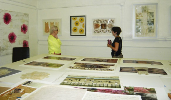 On Tuesday, May 14, members of the Naples Art Association Collection Committee visited Kelly Hollingsworth in her Naples studio. Pictured here: Marilyn Crawford and Eve May