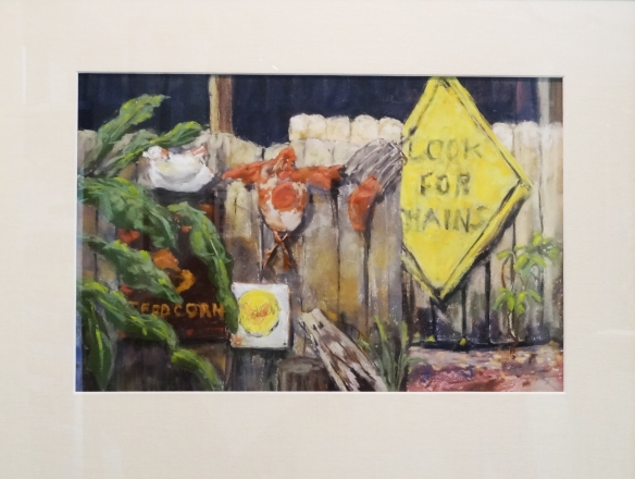 Tanya Trinkaus Glass, Chicken Feed, Juror's Choice Award in the Naples Art Association Words, Signs and Symbols exhibition at The von Liebig Art Center