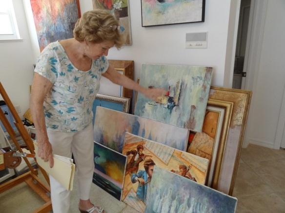 Fondly recalling trips to Italy and elsewhere with her late husband, Richard. She would take photos and paint scenes of the beautiful places she'd travelled. She's worked within themes and has a full series of paintings that incorporate antique sheet music in collage with paint.